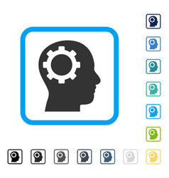 Intellect gear framed icon vector