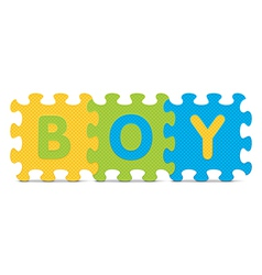 Boy written with alphabet puzzle vector