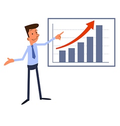 Cartoon businessman presents growth chart vector