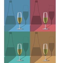 Glasses of champagne set on metal stand with vector