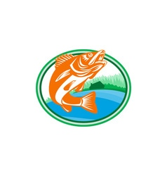Walleye fish lake cabin oval retro vector
