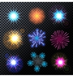 Fireworks salute set on a vector