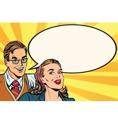 Business people announcement advertising pop art vector