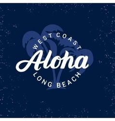 Aloha hand written lettering with palms vector