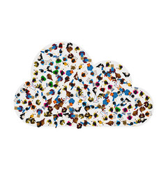 A group of people in a shape of cloud icon vector