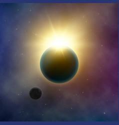Abstract milky way galaxy solar eclipse sun shine vector