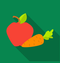apple with carrot icon in flat style isolated on vector image