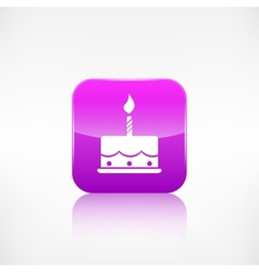 Birthday cake web icon Application button vector image