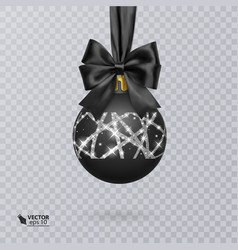 black christmas ball decorated with a realistic vector image vector image