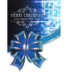 Blue christmas background with bow vector