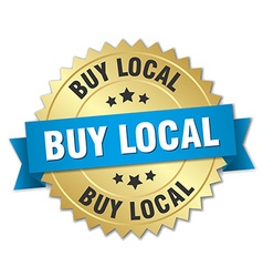Buy local 3d gold badge with blue ribbon vector