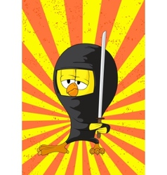 cartoon ninja chick vector image vector image