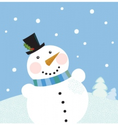 Christmas winter snowman background vector image vector image