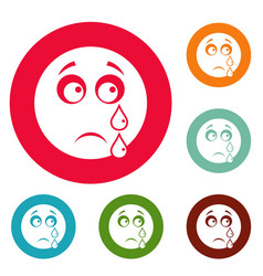 Cry smile icons circle set vector
