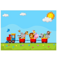 Cute animal on train vector image vector image