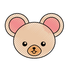 cute scribble mouse face cartoon vector image vector image