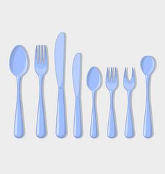 cutlery set icons fork spoon usual than vector image vector image