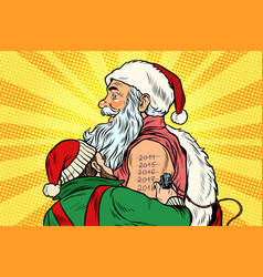 elf makes santa tattoo 2018 new year vector image