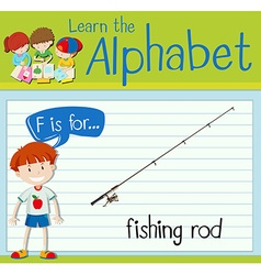 Flashcard letter f is for fishing rod vector
