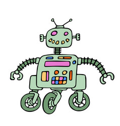 Funny robot on wheels with red eyes vector