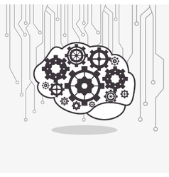 Human brain with gears inside and circuit icon vector