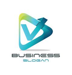 letter v media logo vector image vector image