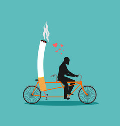 Lover smoke man and cigarette on bicycle smoker vector