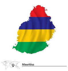 Map of mauritius with flag vector