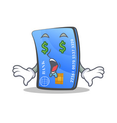 Money eye credit card character cartoon vector