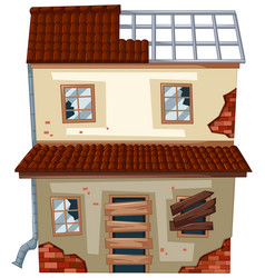 old house with ruined windows vector image vector image