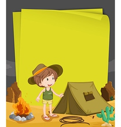 Paper design with boy camping out at night vector