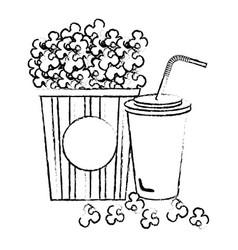 pop corn with soda cinema food vector image