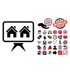 Realty project flat icon with bonus vector