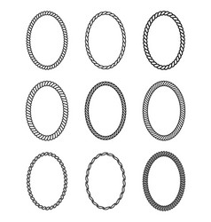 Rope set of oval frames collection of thick and vector