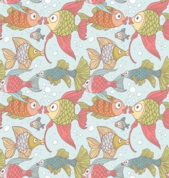 Seamless ornament variety of fish in the water vector image vector image