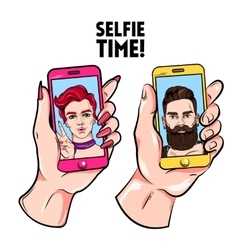 Selfie time sketch set vector