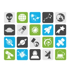 Silhouette astronomy and space icons vector