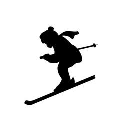 silhouette girl winter sport ski vector image