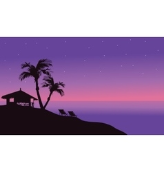 Silhouette of hut in beach at summer vector