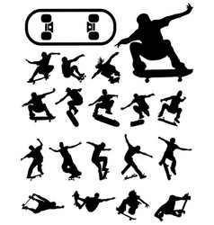 silhouettes of skate jumpers vector image