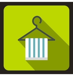 Striped scarf on coat hanger icon flat style vector