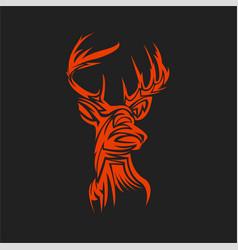 style tattoo deer head vector image