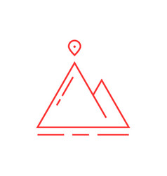 thin line mountain with map pin vector image