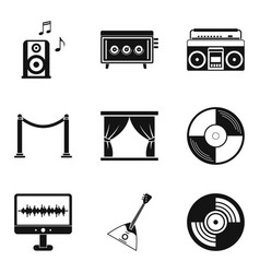writing music icons set simple style vector image vector image