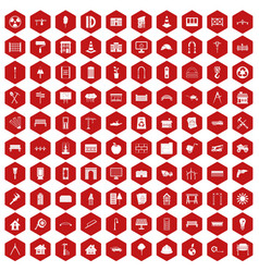 100 architecture icons hexagon red vector