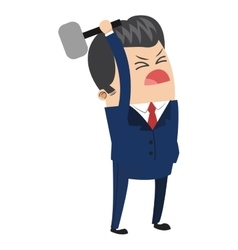 Cute businessman holding hammer icon vector