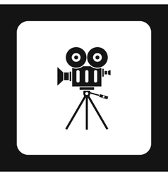 Retro cinema camera icon simple style vector image