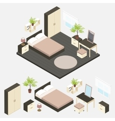 Isometric bedroom interior composition vector