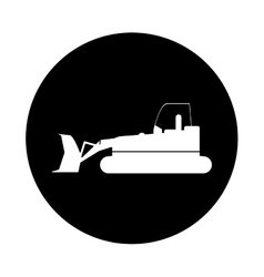 Bulldozer truck construction sign pictogram vector