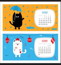 Cat calendar 2017 horizontal cute funny cartoon vector